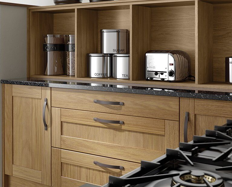 oak-kitchen-curved-drawers-open-shelves